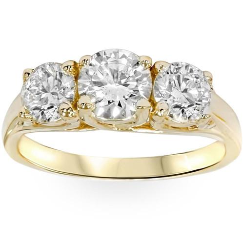 2ct Three Stone Diamond Engagement Ring 14K Yellow Gold ((G-H), SI(1)-SI(2))