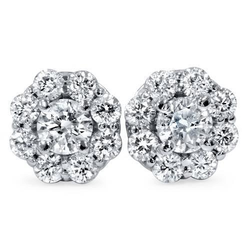 1 1/2ct Halo Fire Diamond Studs 14K White Gold (G/H, I1)