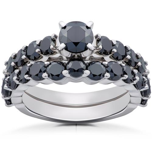 2 ct Black Diamond Engagement & Wedding Ring Set 14K White Gold (Black, I1)