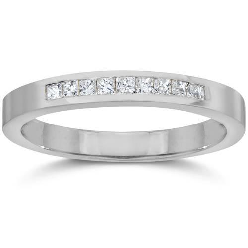 1/4ct Princess Cut Diamond Wedding White Gold 14K Ring (H/I, I2)