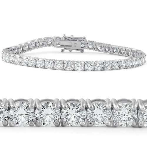 "10 Ct Diamond Tennis Bracelet 18k White Gold Lab Grown 7"" (F, VS/SI)"
