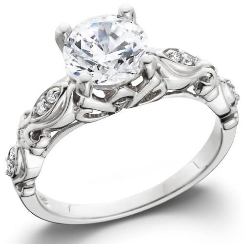 1 1/16ct Vintage Lab Created Diamond Engagement Ring 14K White Gold Antique (F, VS)
