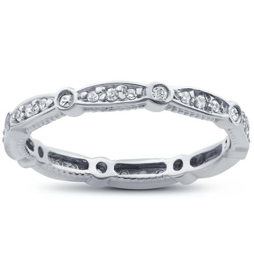 3/8ct Stackable Diamond Eternity Ring 14K White Gold (G/H, I1)