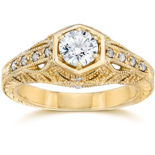 Emery .70Ct Vintage Diamond Antique Engagement 14K Yellow Gold (H/I, I1)
