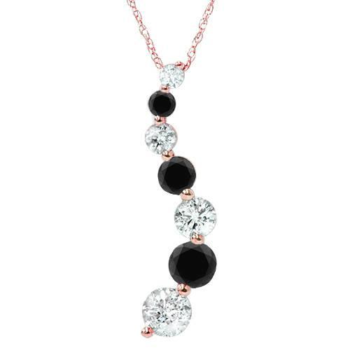 14K Pink Rose Gold 1/2ct Black & White Diamond Journey Pendant (G/H, I1)