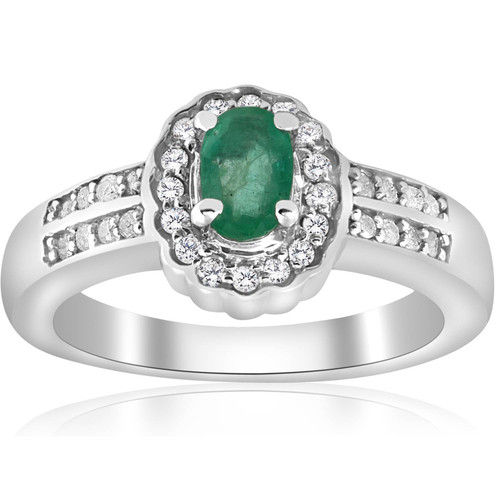 1 1/2ct Emerald & Diamond Halo Ring 14K White Gold Double Row