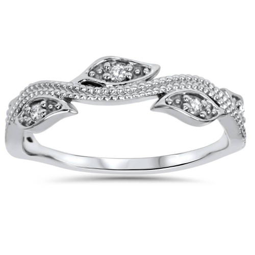 1/10ct Vintage Floral Leaf Diamond Wedding Stackable Ring 14K White Gold (H/I, I1-I2)