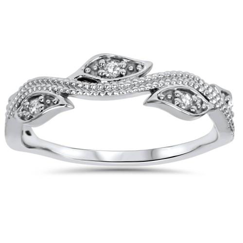1/10ct Vintage Floral Leaf Diamond Wedding Stackable Ring 14K White Gold (H/I, I1-I2)