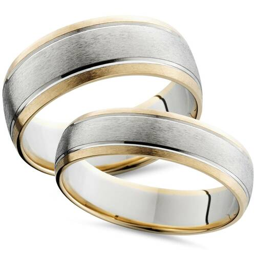 Two Tone 14k White & Yellow Gold Matching Wedding Ring Set His Hers Brushed Band