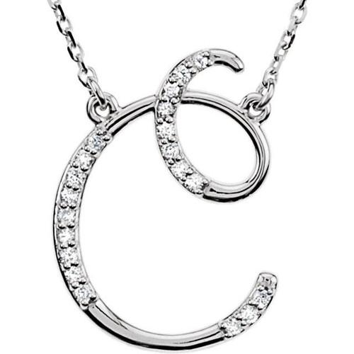 "1/4ct Diamond ""C"" Initial Pendant 18"" Necklace 14K White Gold (G/H, I2)"