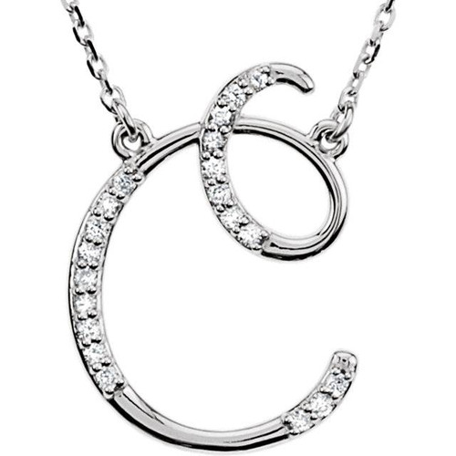 "1/4ct Diamond ""C"" Initial Pendant 18"" Necklace 14K White Gold (G/H, I2)"