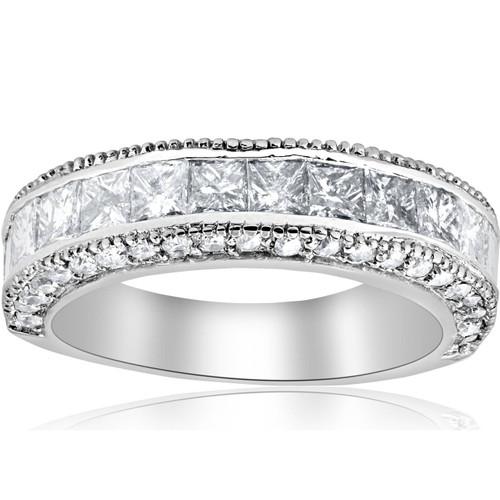 2 3/4ct Princess Cut Vintage Diamond Wedding 14K Ring (G/H, SI)
