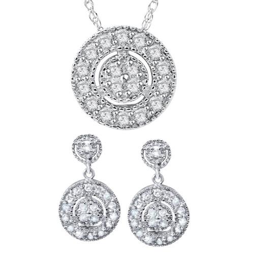 3/4ct Diamond Dangle Earrings & Matching Pendant Vintage Style 10K White Gold (I-J, I2-I3)