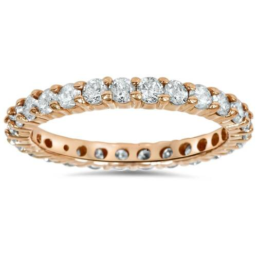 1 1/2ct Diamond Eternity Wedding Ring 14K Rose Gold (H, I2)