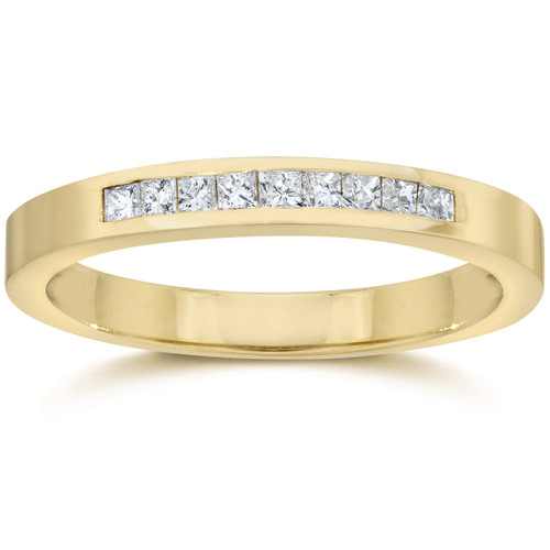 1/4ct Princess Cut Diamond Wedding Yellow Gold Ring (H/I, I2)
