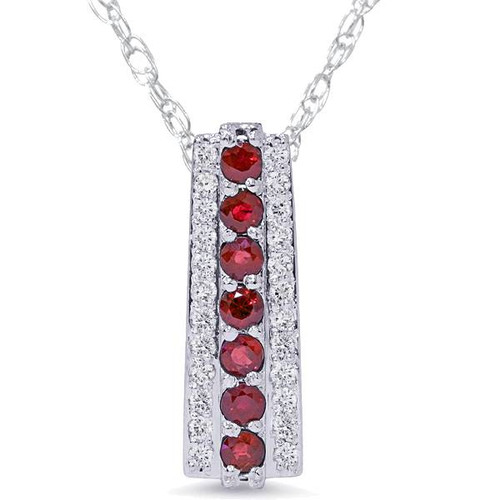 "1 1/2ct Ruby & Diamond Pendant 14 Karat White Gold 1"" Tall (G/H, I1-I2)"