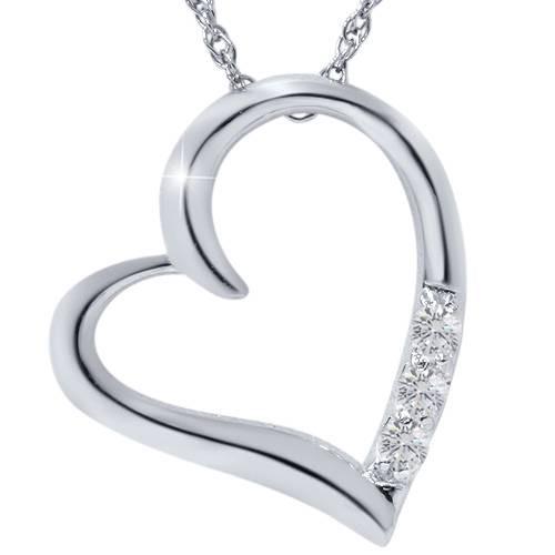 """G/VS Diamond Heart Pendant 3-Stone 10K White Gold with 18"""" Chain (G/H, VS)"""