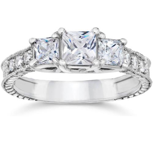 1 1/2ct Vintage Three Stone Princess Cut Diamond Engagement Ring 14K White Gold (H, SI2)
