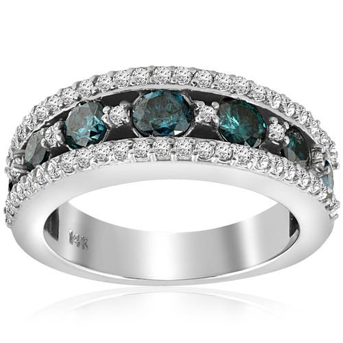1 3/4ct Blue Diamond Ring 14K White Gold (Blue, I1)