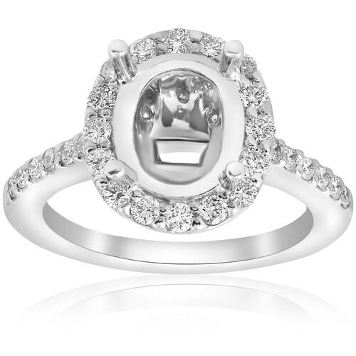 3/4ct Oval Diamond Vintage Engagement Ring Setting Semi Mount 14K White Gold (G, VS)