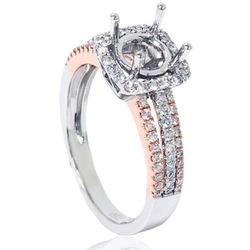 1/2ct Cushion Halo Diamond Engagement Ring Setting 18K White & Rose Gold (F, VS2)