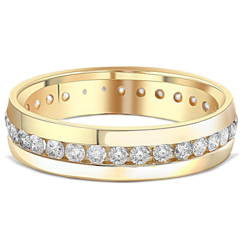 1 1/4ct Mens Diamond Channel Set Eternity Ring 14K Yellow Gold (H/I, SI2)