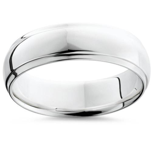 Step Cut Polished Wedding Band 950 Platinum