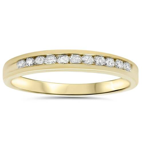 1/4ct 14K Yellow Gold Diamond Wedding Guard Stack Ring (G/H, I2)