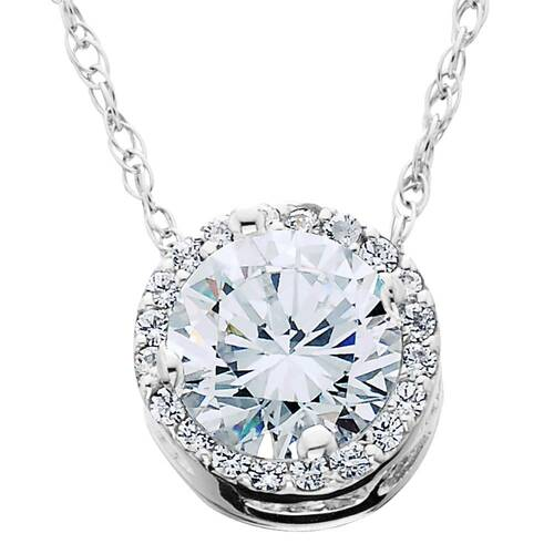 1/2 Ct Round Diamond Pave Halo Fancy Solitaire Pendant 14k White Gold (G/H, I2)