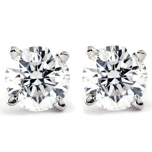1.00Ct Round Brilliant Cut Natural Diamond Stud Earrings in 14K Gold Setting (I/J, I2-I3)