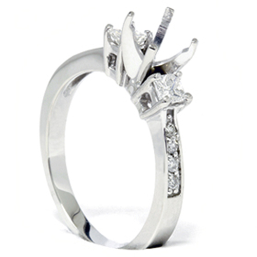Princess Cut Diamond Engagement Semi Mount Ring Setting (G/H, I1)