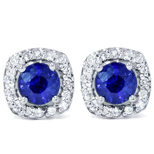 1 5/8ct Pave Halo Sapphire Diamond Studs 14K White Gold (G/H, I2)