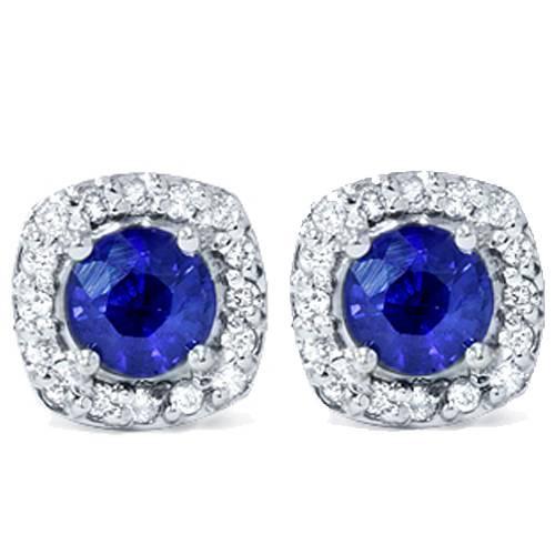 1 5/8ct Pave Halo Sapphire Diamond Studs 14K White Gold (G/H, I2)