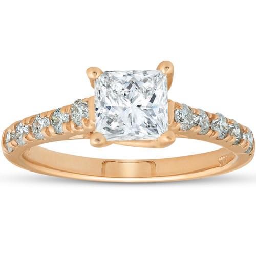 14k Yellow Gold Princess Cut 1 1/4ct Enhanced Diamond Cathedral Engagement Ring (H, I1)