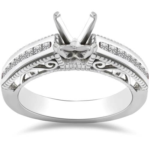 3/8ct Princess Cut Diamond Engagement Ring 14K Setting White Gold (H, I1)