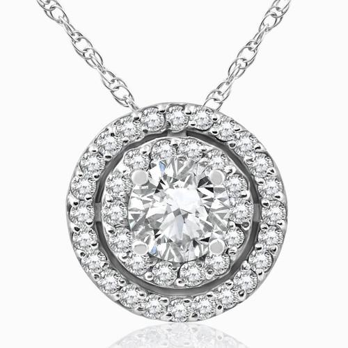 1ct Diamond Double Halo Pendant 14K White Gold (H-I, SI2-I1)