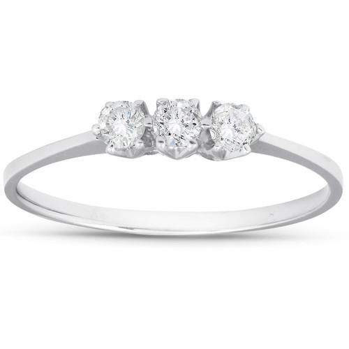 1/5ct 3-Stone Diamond Promise Ring 14K White Gold (G/H, I1)