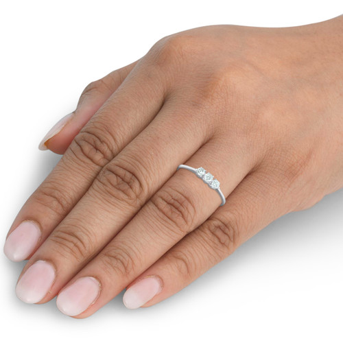 1/5ct 3-Stone Diamond Promise Ring 14K White Gold (G/H, I1)