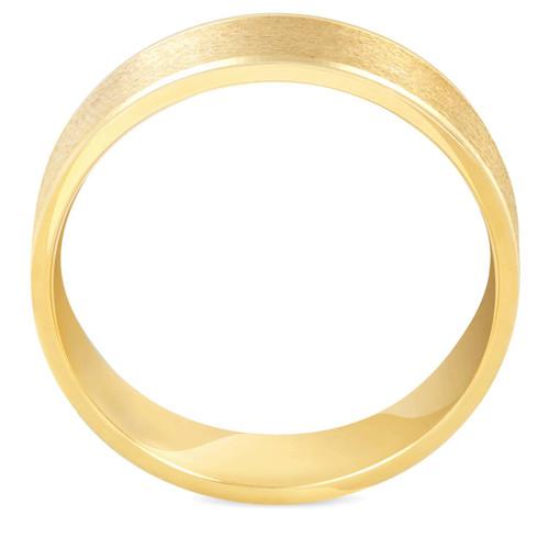 6mm Brushed Round Polished Edge 10K Yellow Gold Wedding Band