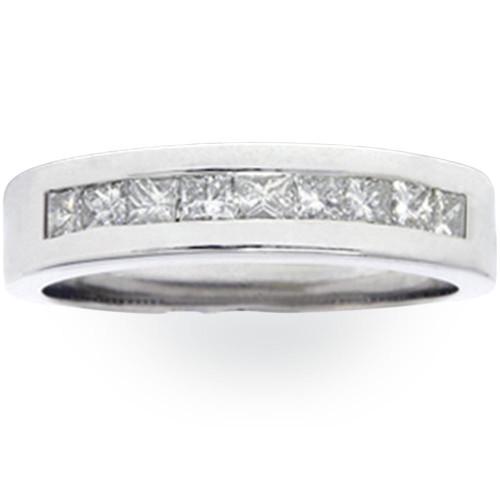 1ct Princess Cut Diamond Wedding Mens 14K White Gold Ring (G/H, SI)