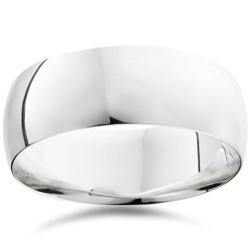 High Polished Wedding Band 14K White Gold