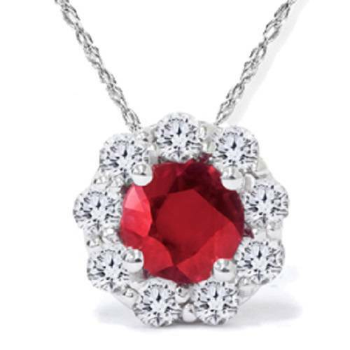 1 1/4ct Ruby Diamond Halo Pendant 14K White Gold (G/H, I1)