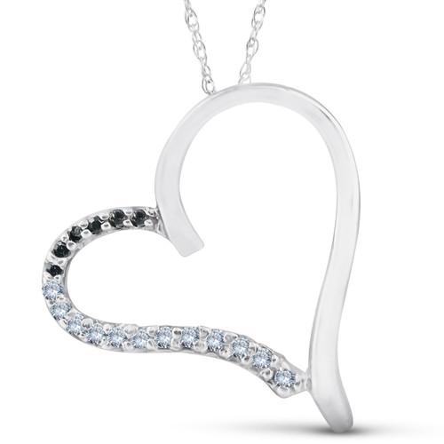 1/6ct Black Diamond White Gold Heart Pendant White Gold (G/H, I1-I2)