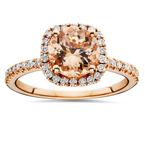 1 1/4 CT Morganite & Diamond Cushion Halo Engagement Ring 14K Rose Gold (H/I, I1)