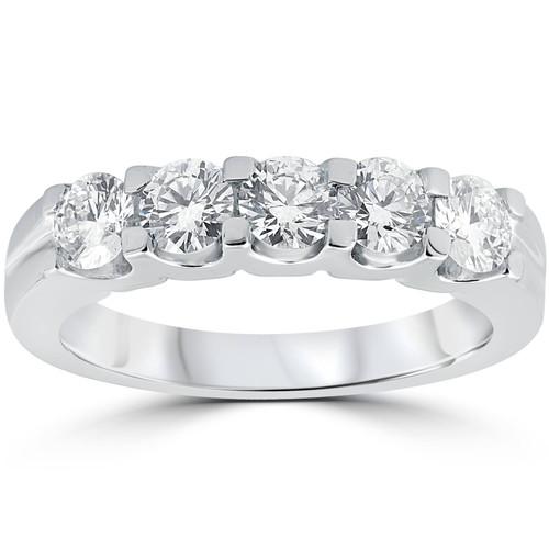 1ct Diamond Wedding Ring Anniversary Stackable Band 14K White Gold (H-I, I1-I2)