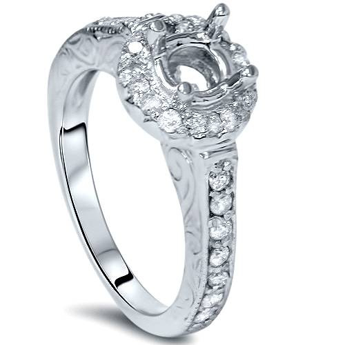 1/3ct Vintage Engagement Ring Setting 14K White Gold (G/H, I1-I2)