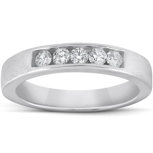 1/3ct Mens 14K White Gold Diamond Wedding Ring Band (G/H, I1)
