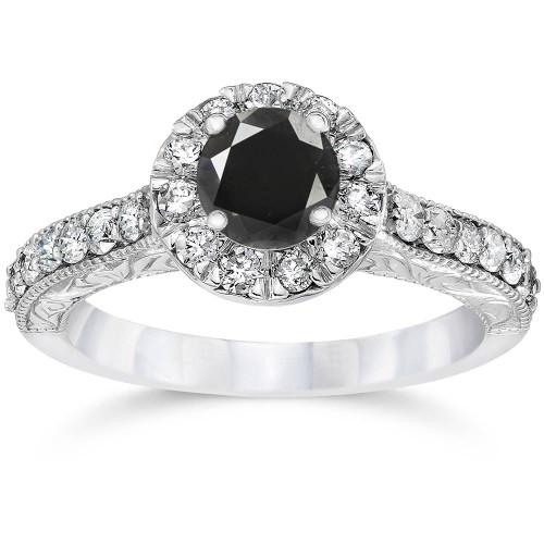 1 3/4ct Vintage Treated Black Diamond Engagement Ring 14K White Gold (Black, I1-I2)