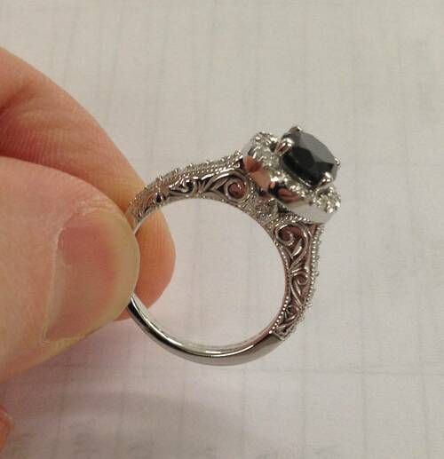 1 3/4ct Vintage Treated Black Diamond Engagement Ring 14K White Gold (Black, I1-I2)