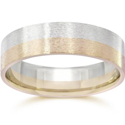 Brushed Two Tone Flat Wedding Band 14K Gold